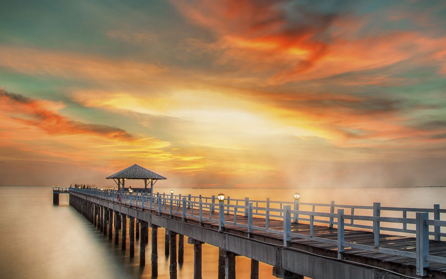 Sunset in Phuket Thailand Wooden pier fire sky red clouds Ultra HD Wallpapers for Desktop Mobile Phones and laptop 3840x2160