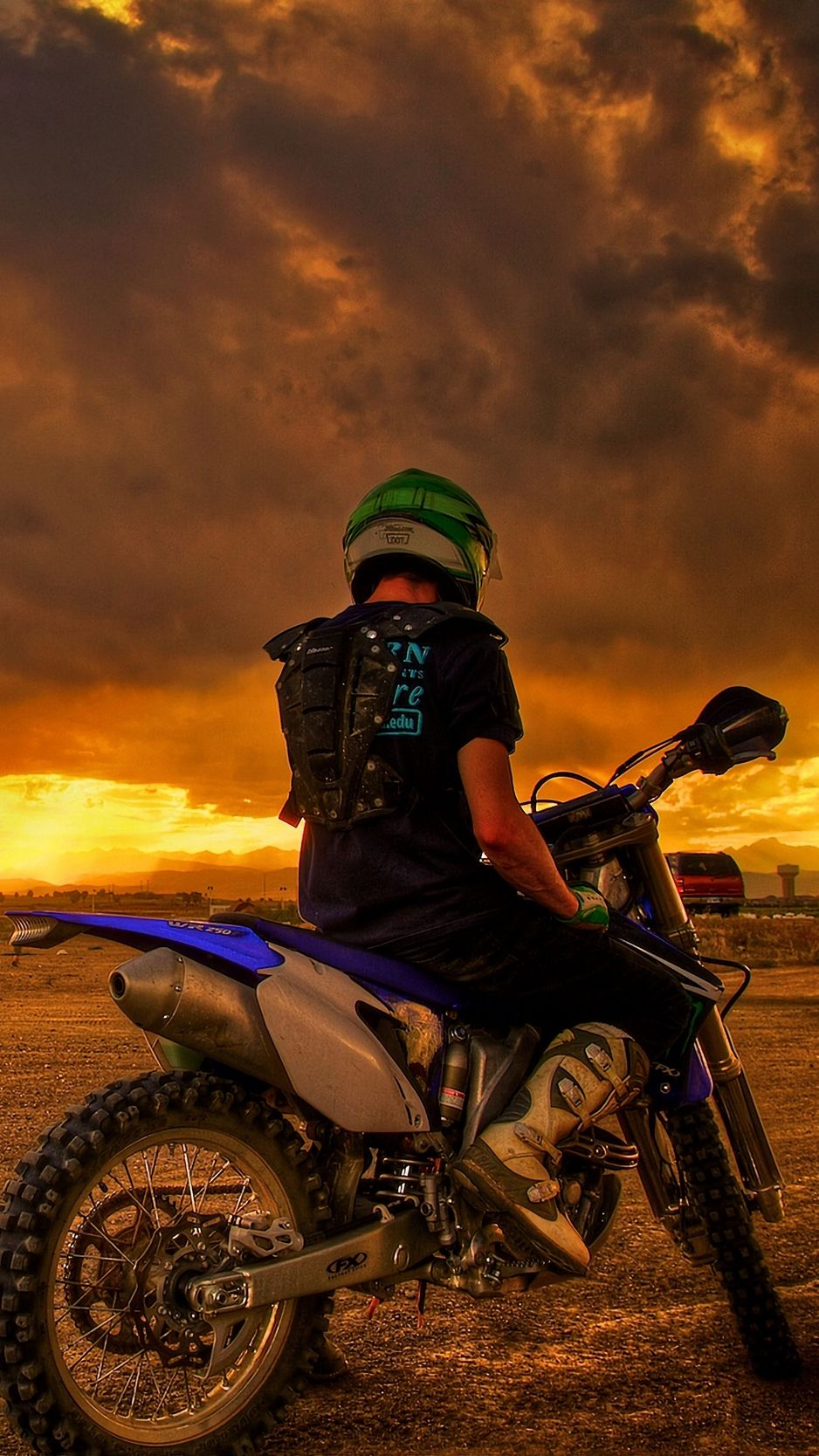 Motorcyclist motorcycle sunset wallpaper background