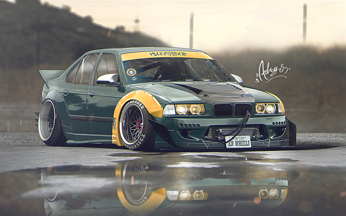 Download wallpapers 4k E36 BMW 3 series artwork stance tuning german cars green E36 BMW besthqwallpapers