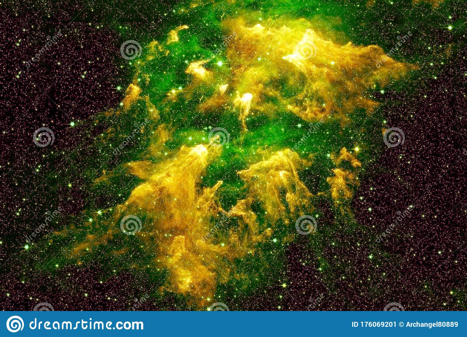 beautiful space nebula green color elements image were furnished nasa any purpose