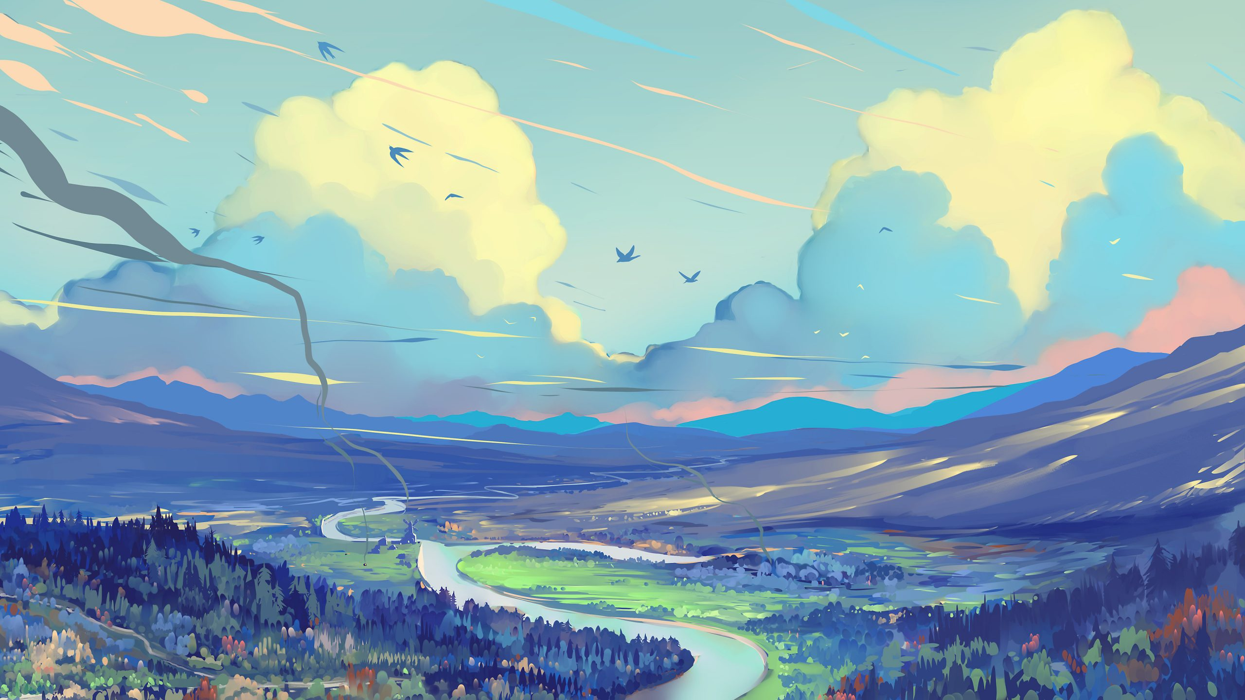 white blue red clouds scenery digital art painting 4k