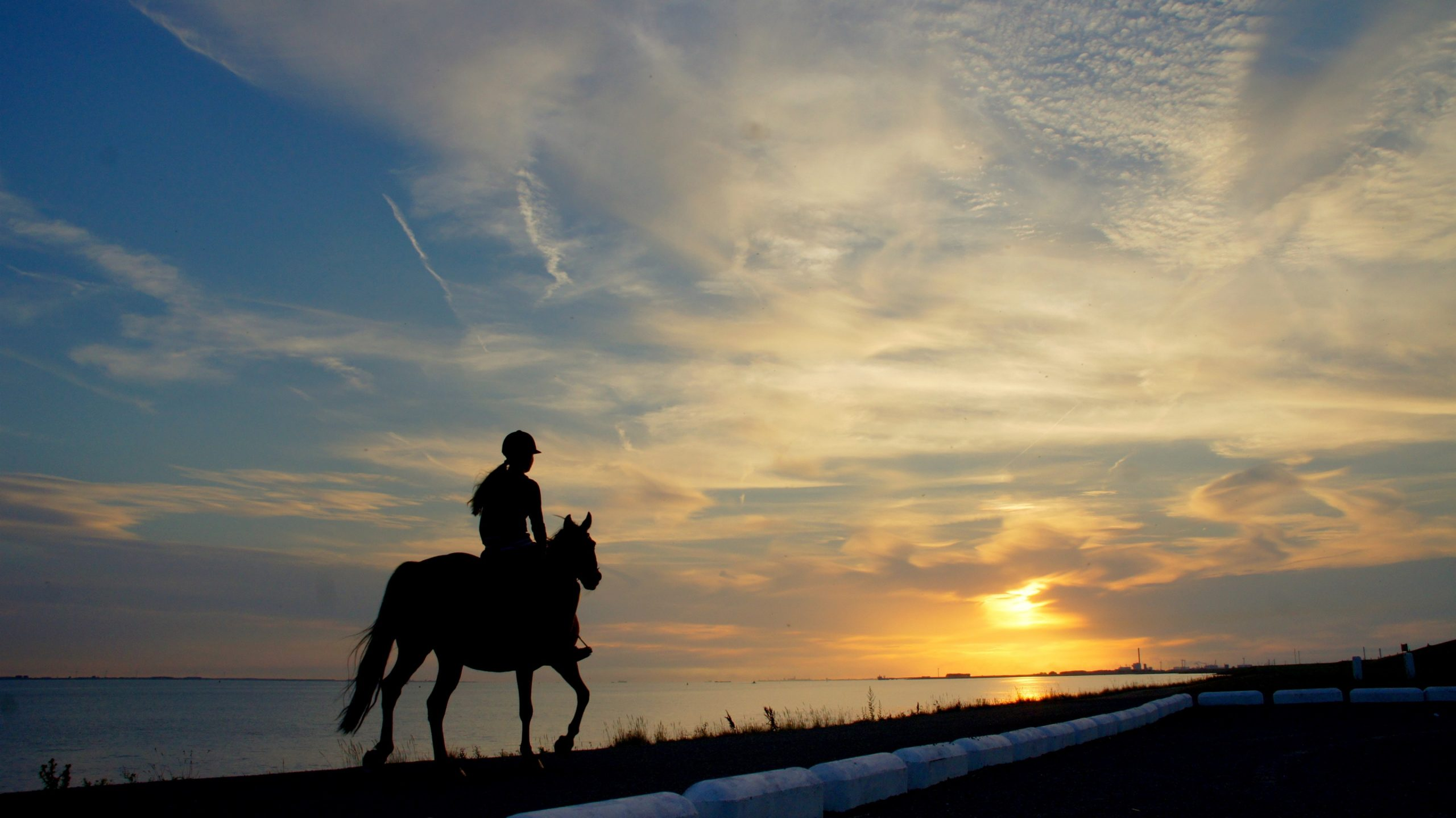 Girl rider horse river silhouette sky clouds sunset wallpapers