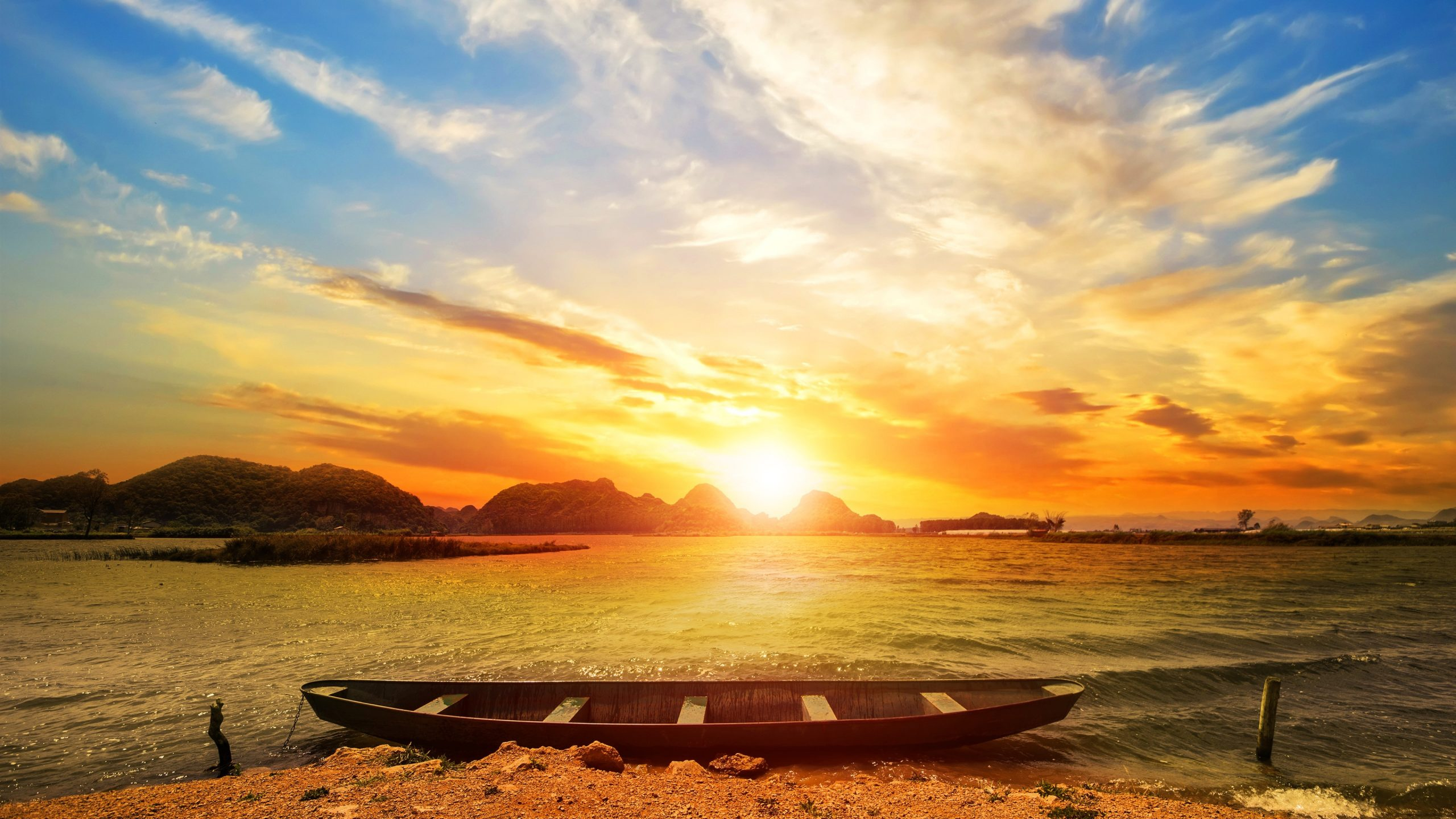 Tropical sea boat sunrise glare sky clouds wallpapers