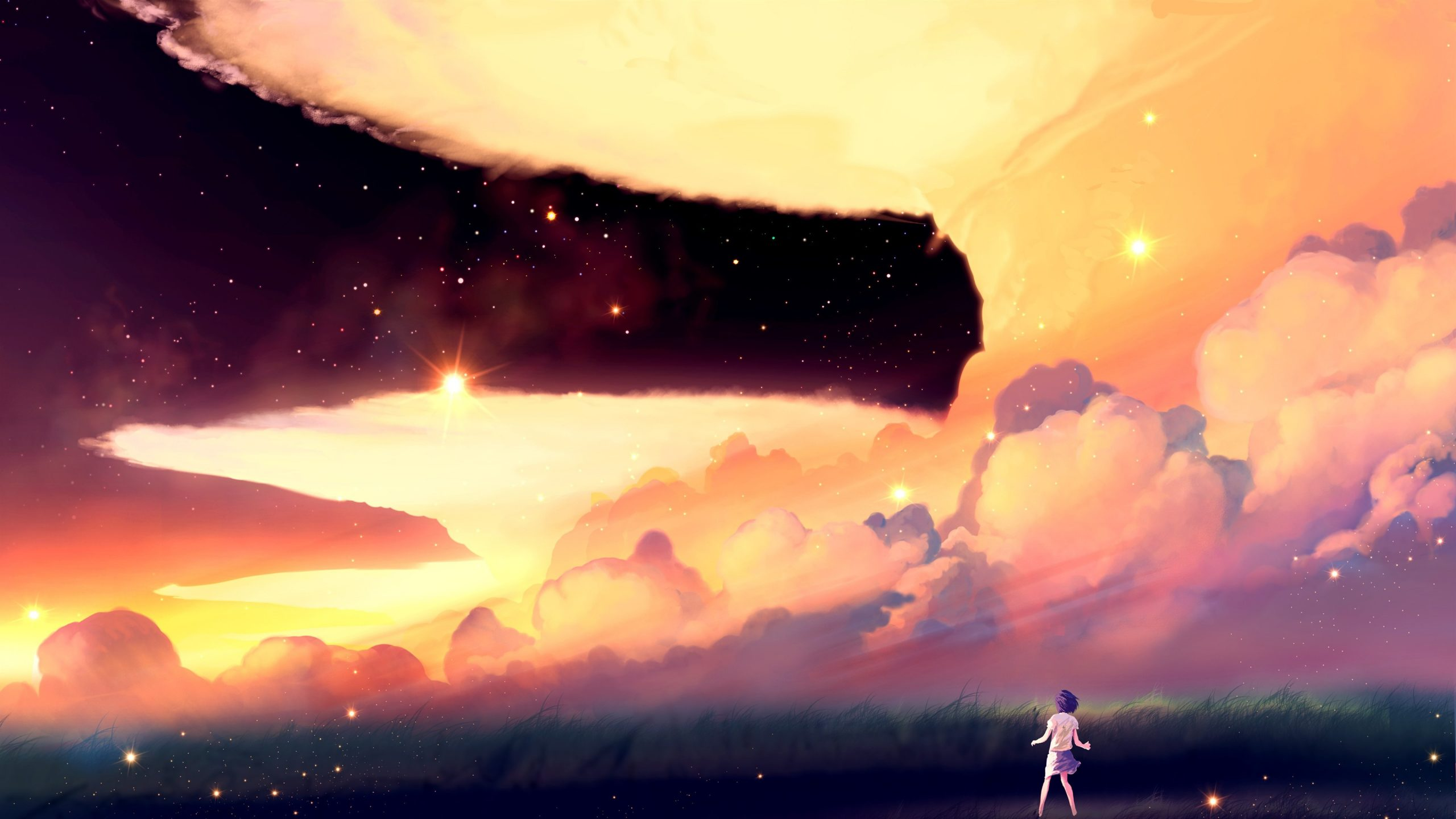 Stars clouds grass anime girl wallpapers