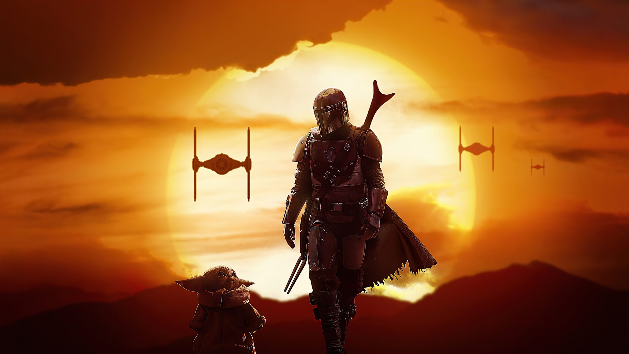 baby yoda star wars with background of sun and clouds 4k hd movies wallpapers