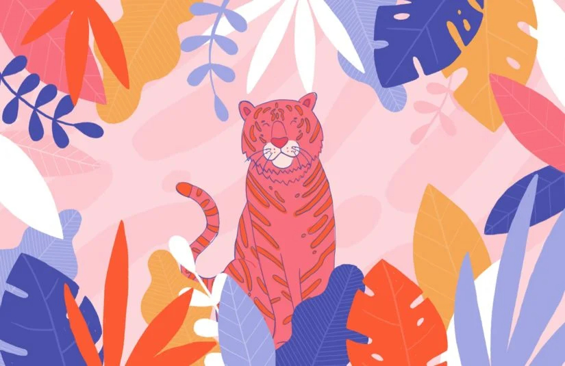 Colourful Tiger Wallpaper Jungle Leaf Style